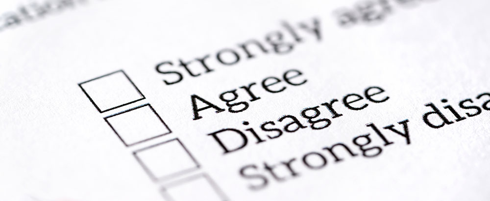 A survey form with: strongly agree, agree, disagree and strongly disagree