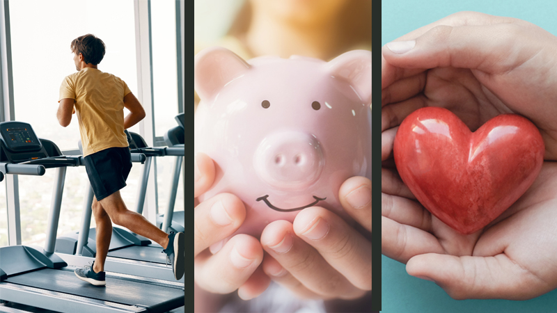 Collage: A man on a treadmill, a piggy bank and a model heart