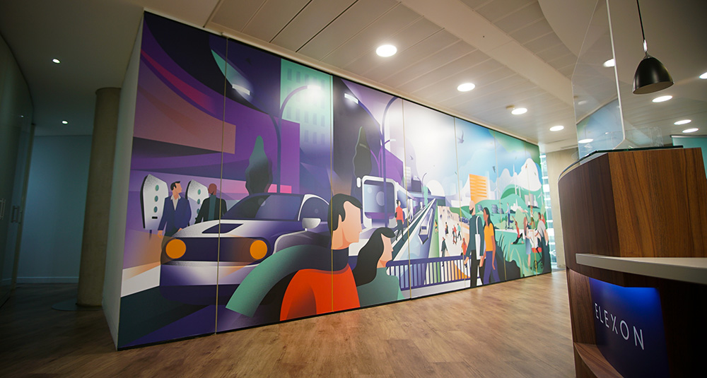 Elexon front office with mural